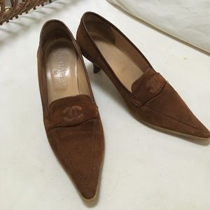 Authentic Chanel Suede Loafer Heels